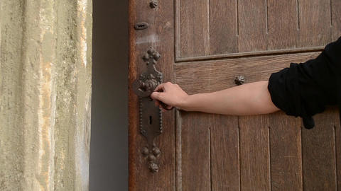 Woman Push Old Door Handle Footage