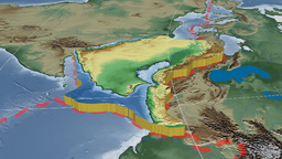 Arabian Tectonic Plate. Bumps Shaded stock footage