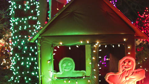 Van dusen - gingerbrean men and house in colorful  Live影片