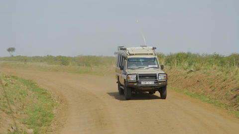 Tourist Jeep On A Game Ride In Nairobi National Pa stock footage