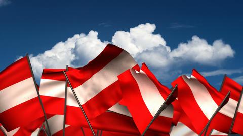Waving Austrian Flags Animation