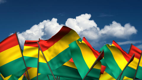 Waving Bolivian Flags Animation