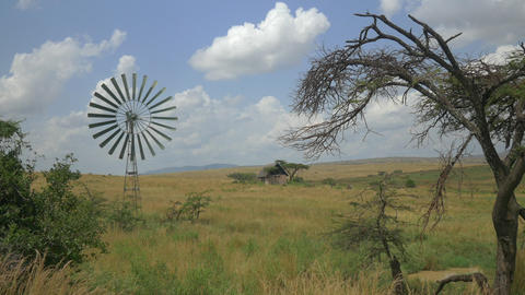 Windmill and an old house in African Safari Footage