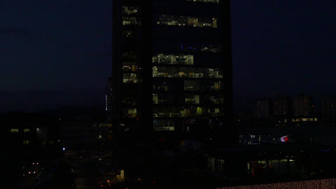 AERIAL: People working in big office building at d Footage