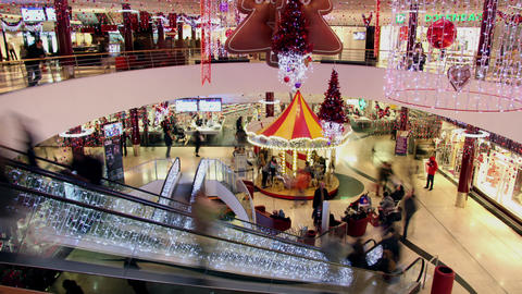 Mall at christmas Footage