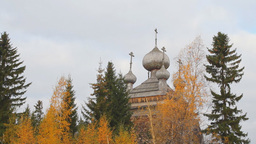 Ancient Russian Church In The Autumn Forest stock footage