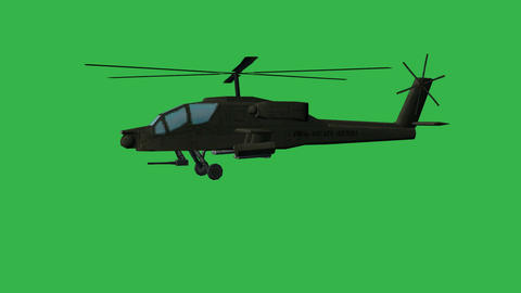 Apache Helicopter On Green Screen: Looping + Matte stock footage