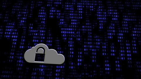 Cloud Computing Padlock On Digital Wall stock footage