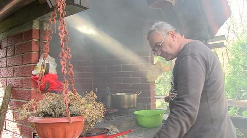 Man Preparing Meat stock footage