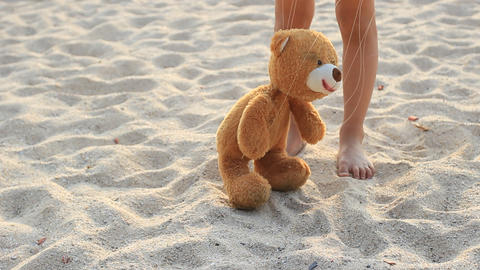 Bear Marionette On Beach stock footage