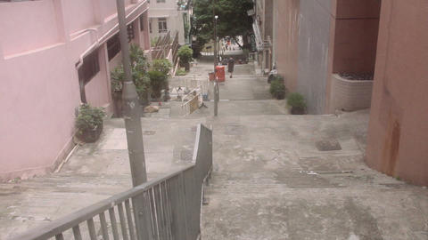 Slope alley and steps in Hong Kong, China Live Action