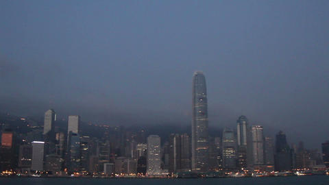 View of city with modern skyscrapers and harbour at Victoria Harbour, Hong Kong Footage