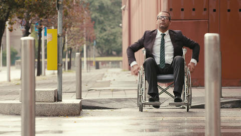 Health and handicap, business people on wheelchair Live Action