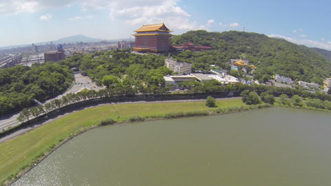 drone aerial towards Taipei Grand Hotel Footage