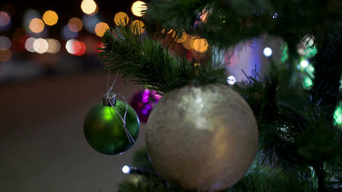 Decorated Christmas Tree Outdoor In The City stock footage