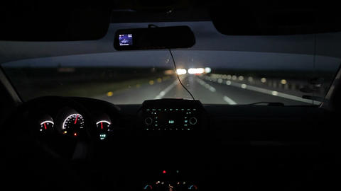 Car driving at night or early morning Footage