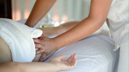 Woman Getting Massage Treatment In Beauty Spa stock footage