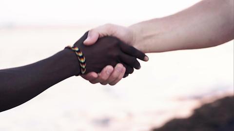 Hand shake as symbol of international friendship Live Action
