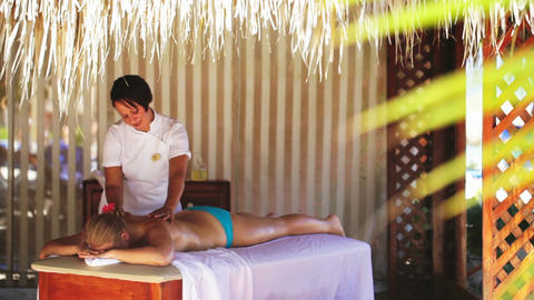 Spa treatment massage in gazebo Footage