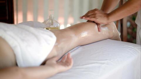 Woman getting massage treatment in beautiful spa Footage