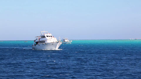 white yacht sailing the red sea - egypt Footage