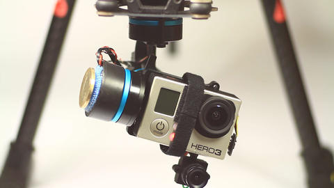 GoPro action camera moving on gimbal mount Footage