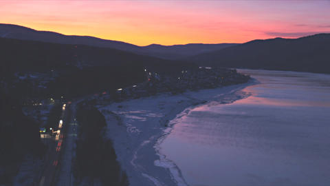 Winter River Yenisei Sunset Timelapse Footage