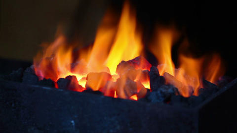 Bright Flame Of Fire Burns In A Forge Horn stock footage