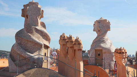 Casa Mila Gaudi surrealistic roof, Barcelona Footage