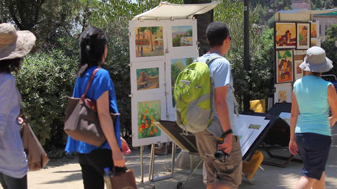 Tourists in Park Guell Barcelona Footage