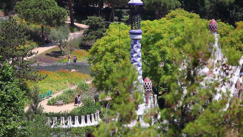 Park Guell in Barcelona City Spain Footage
