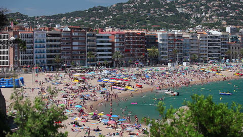 Beach in Lloret de Mar, Costa Brava Footage