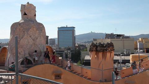 Details of surreal roof Casa Mila Barcelona Live Action