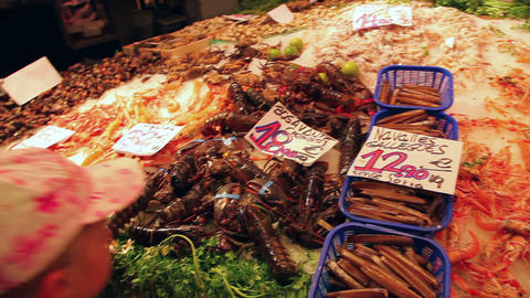 Seafood and fish market La Boqueria, Barcelona Footage