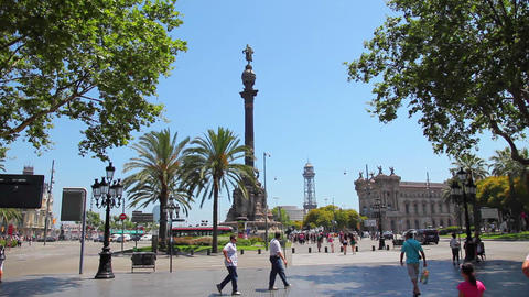 Columbus Monument, Barcelona Spain stock footage