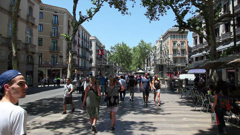 Barcelona La Rambla street, Spain Footage