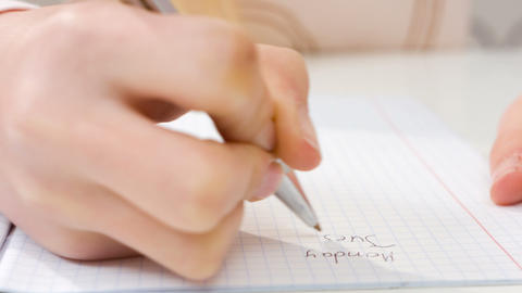 Hand Writing In Exercise Book stock footage