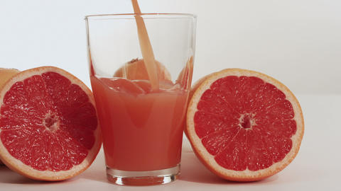 Grapefruit juice and grapefruit fruit Footage