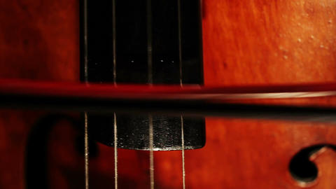 Double Bass 06 bow extreme closeup Footage