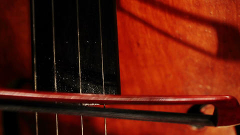 Double Bass 06 bow extreme closeup Stock Video Footage