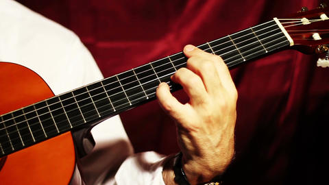 Musician and Acoustic Guitar 01 playing Stock Video Footage