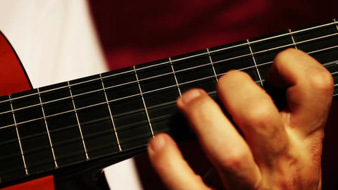 Musician and Acoustic Guitar 03 playing closeup Stock Video Footage