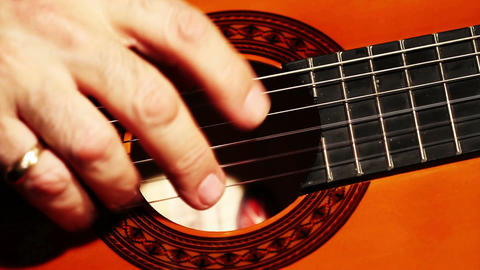 Musician and Acoustic Guitar 05 playing closeup Stock Video Footage