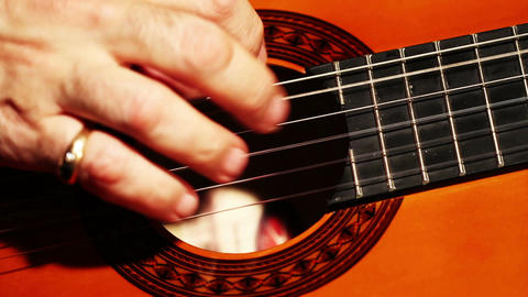 Musician and Acoustic Guitar 05 playing closeup Footage