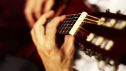 Musician and Acoustic Guitar 07 playing closeup Stock Video Footage