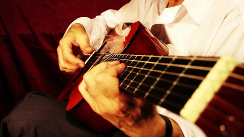 Musician and Acoustic Guitar 09 playing wide angle Stock Video Footage