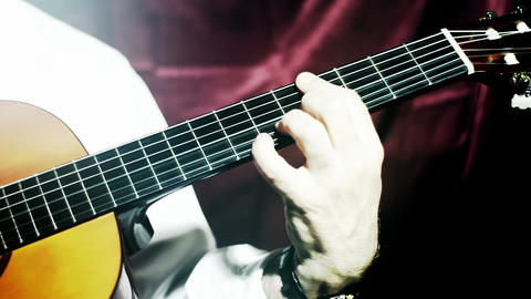 Musician and Acoustic Guitar 11 playing stylized artcolored Stock Video Footage
