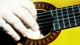 Musician and Acoustic Guitar 15 playing closeup stylized artcolored Footage