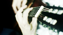 Musician and Acoustic Guitar 17 playing wide angle... Stock Video Footage