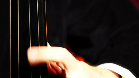 Musician and Double Bass 08 fingerboard extreme closeup... Stock Video Footage